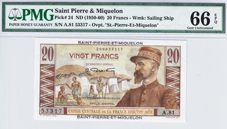 Saint Pierre and Miquelon / P-24 / 20 Francs / ND (1950-60)