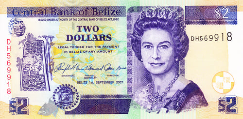 Belize / P-66a / 2 Dollars / 01.09.2007