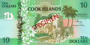 Cook Islands / P-8s / 10 Dollars / ND (1992) / SPECIMEN
