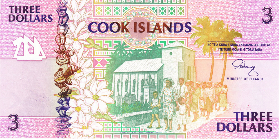 Cook Islands / P-7a / 3 Dollars / ND (1992)