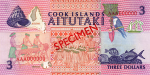 Cook Islands / P-7s / 3 Dollars / ND (1992) / SPECIMEN