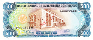 Dominican Republic P-123as 500 Pesos Orp 1978