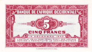French West Africa / P-28b / 5 Francs / 14.12.1942