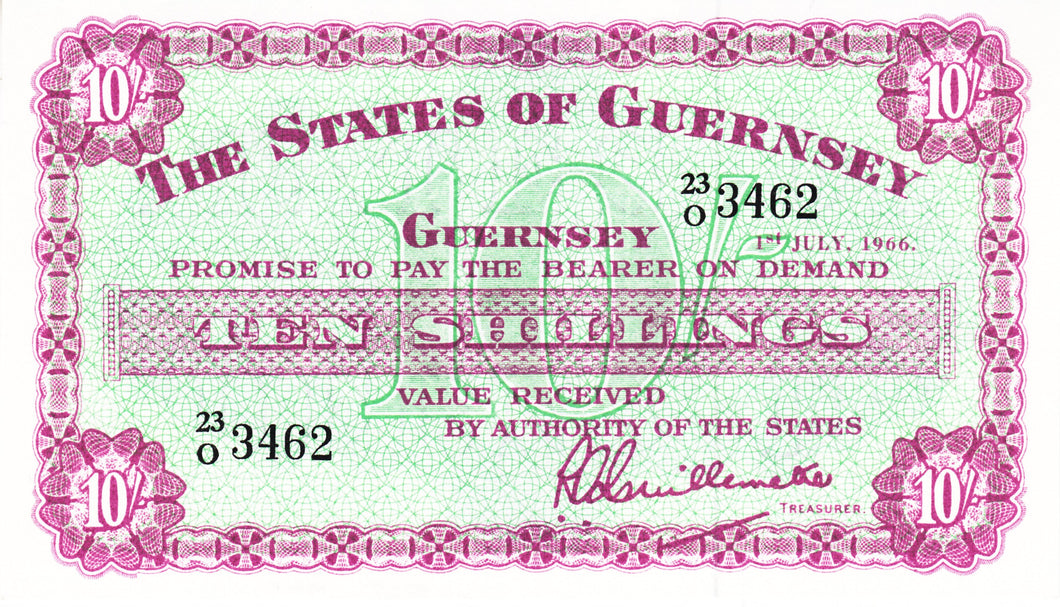 Guernsey P-42c 10 Shillings 1.7.1966