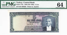 Turkey / P-174a / 5 Lira / L 1930 (04.01.1965)