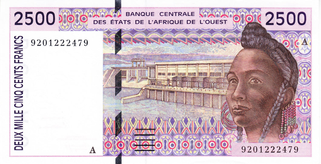 West African States P-112Aa 2'500 Francs (19)92