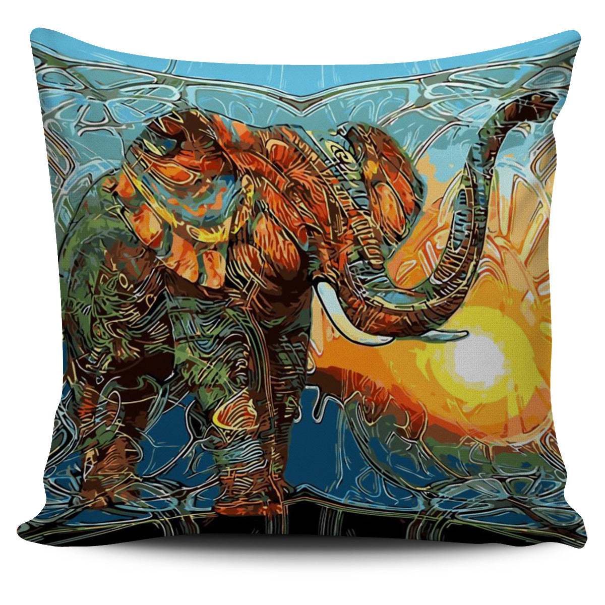 Abstract Colorful Elephant Pillow Cover - L'univers-karma