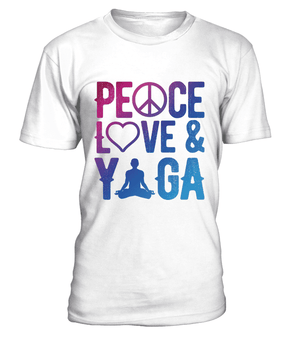 "T Shirt ""Peace, Love & Yoga"" Pour homme - L'univers-karma"