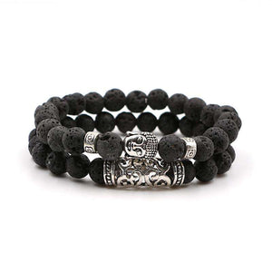 Double Bracelet Porte Chance Bouddha en Pierres Naturelles - 4 Pierre disponibles - - L'univers-karma