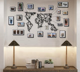 Geometric Metal World Map/ Wall Art / White -Black / Small Size