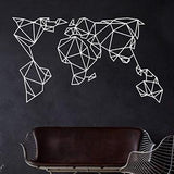 Geometric Metal World  Map /White & Black / Large Size