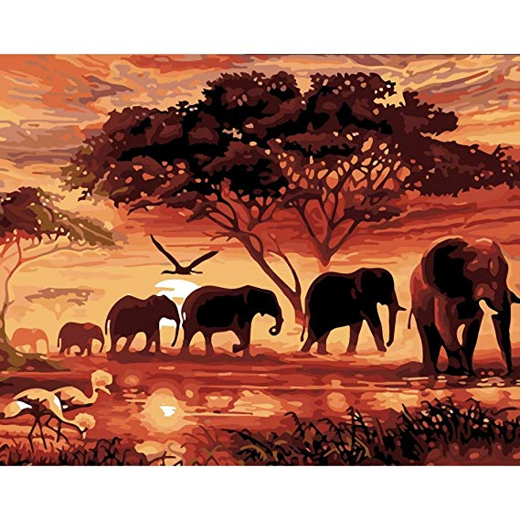 Elephants/ Modern Wall Art /Canvas Painting