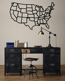 Geometric  Metal USA  Map/ Wall Art / Black