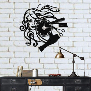 Metal Wall Clock / Hair Dresser