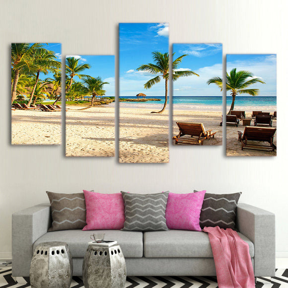 Coconut Trees /Canvas Pictures /Wall Art/ 5 Pieces