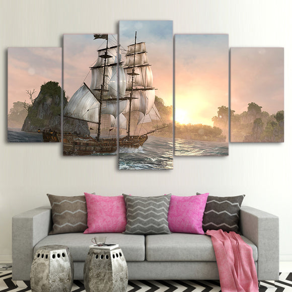 Ship/ Canvas Pictures/Wall Art/5 Pieces