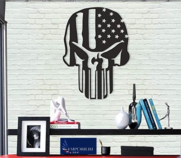 American Flag and Skull / 3D  Metal Wall Decor