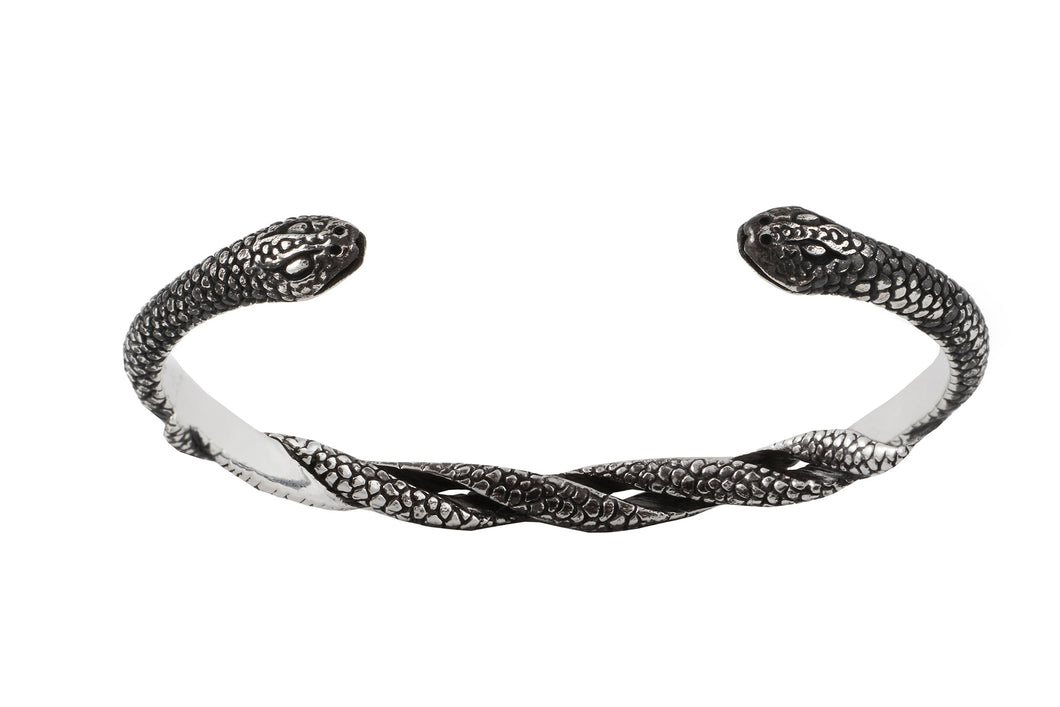 Bracelet cuff with two intertwined snakes. Oxide.