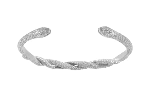 Bracelet cuff with two intertwined snakes. Silver.