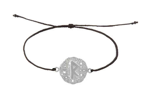 String bracelet with runic medalion amulet Raido. Silver.