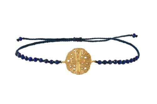 Beaded semiprecious stone bracelet with Ankh medalion amulet. Gold plated.