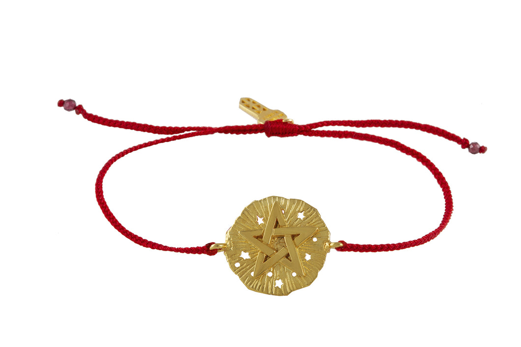 String bracelet with Pentagram medalion talisman. Silver, gold plated.