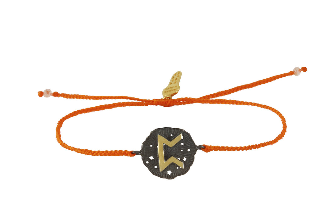 String bracelet with Pert runic medalion  talisman, oxide and gold plated.