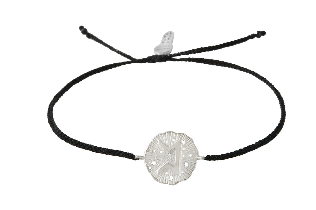 String bracelet with Pert runic medalion  talisman. Silver.