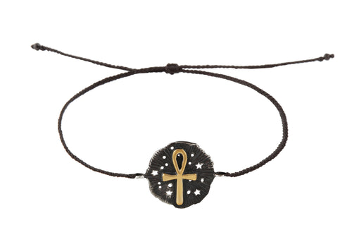 String bracelet with Ankh medalion amulet. Gold plated and oxide.