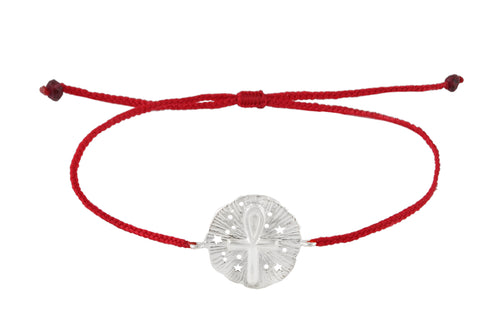 String bracelet with Ankh medalion amulet. Silver.
