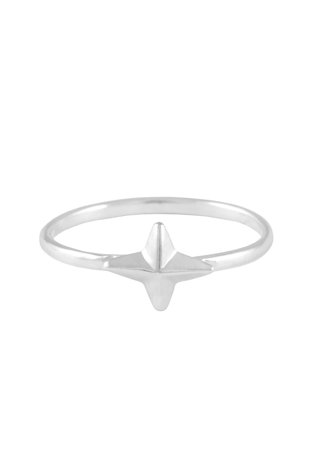 Four pointed star ring. Silver