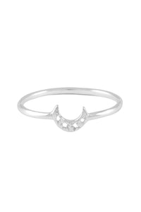 Small crescent moon thin ring. Silver
