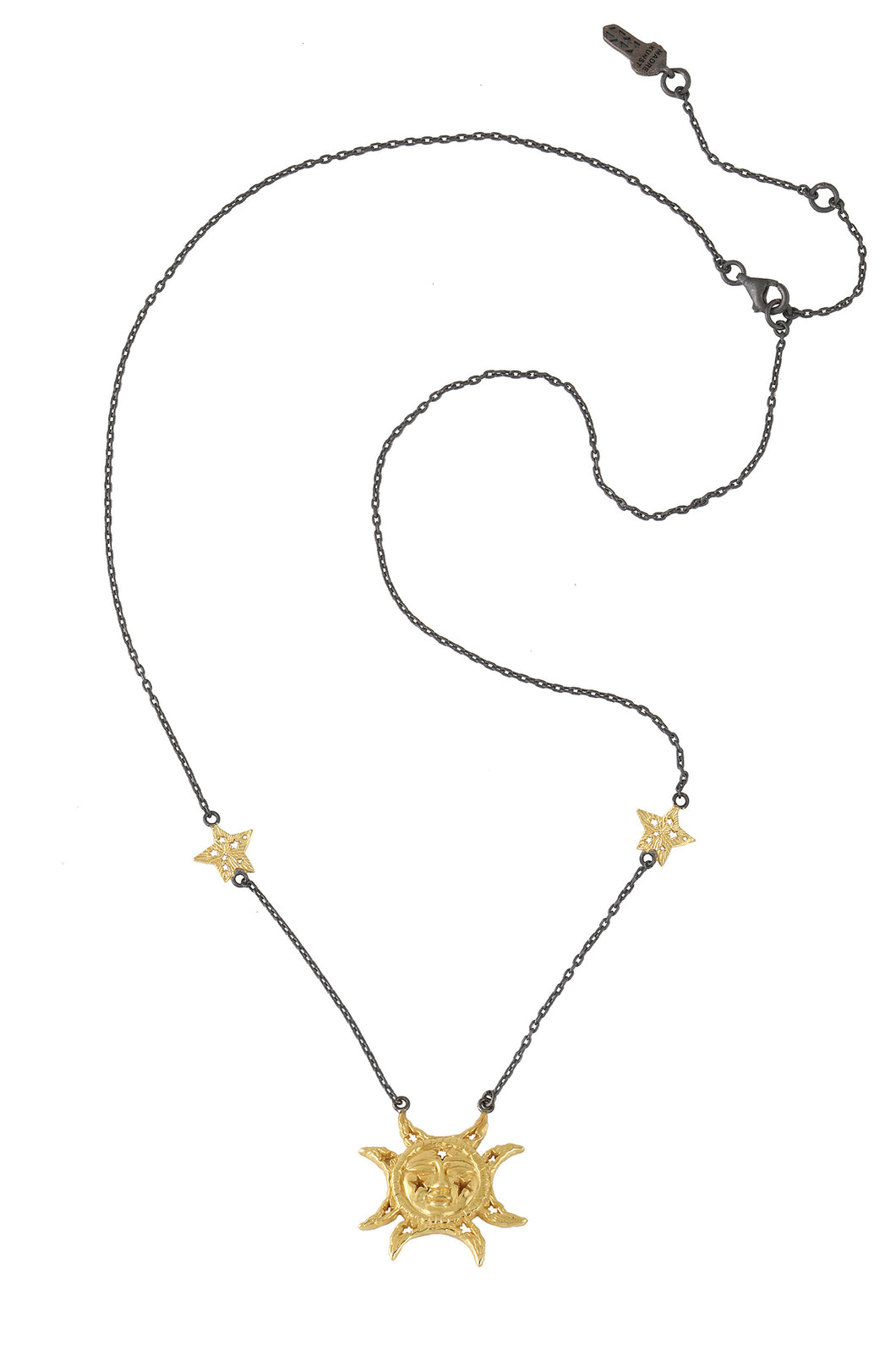 Magic moon face talisman necklace with two stars on the chain. Silver, gold plated and oxide