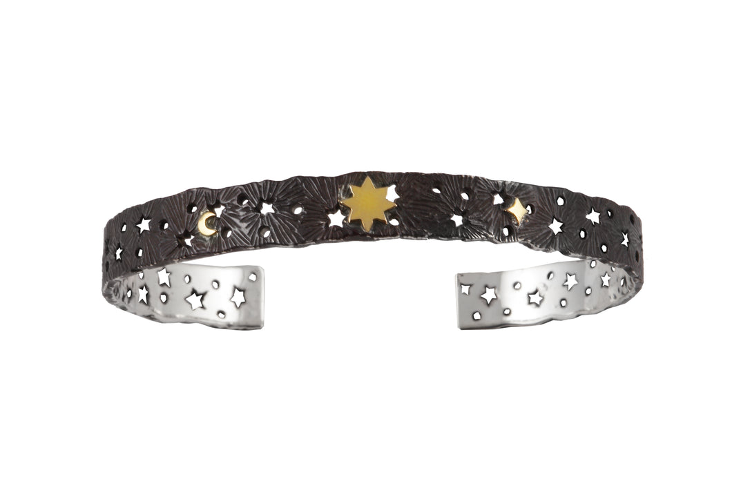 Cosmic lace silver cuff with 8-pointed star, small star and moon