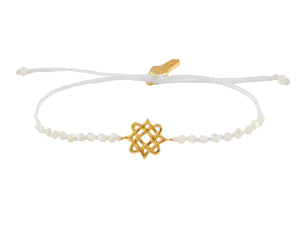 Beaded semiprecious stone bracelet with Lada star talisman mini. Silver, gold plated.