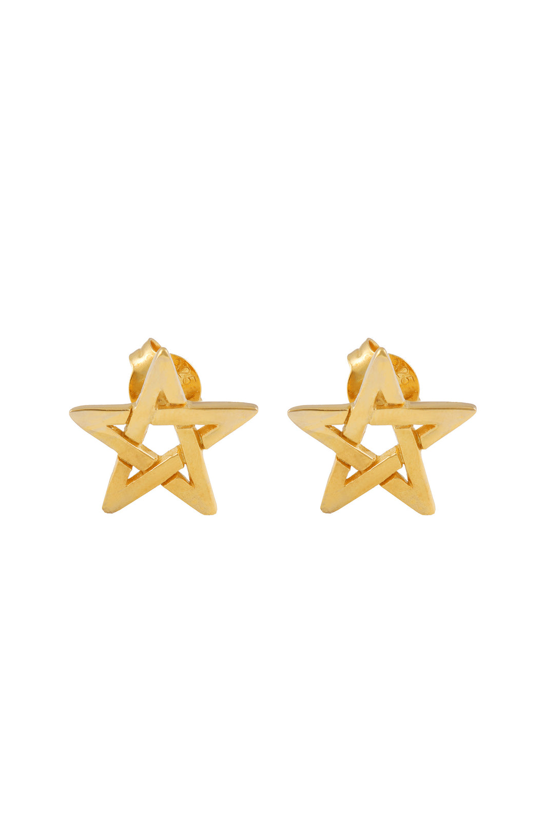 Pentagram studs. Silver, gold plated.