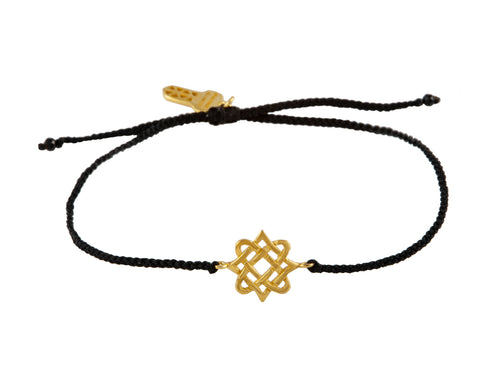 String bracelet with Lada star talisman mini, gold plated.