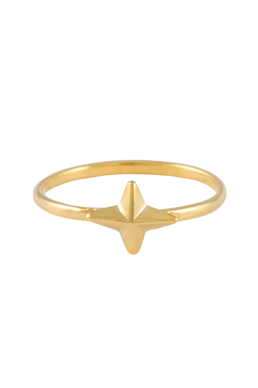 Four pointed star ring. Silver, gold plated
