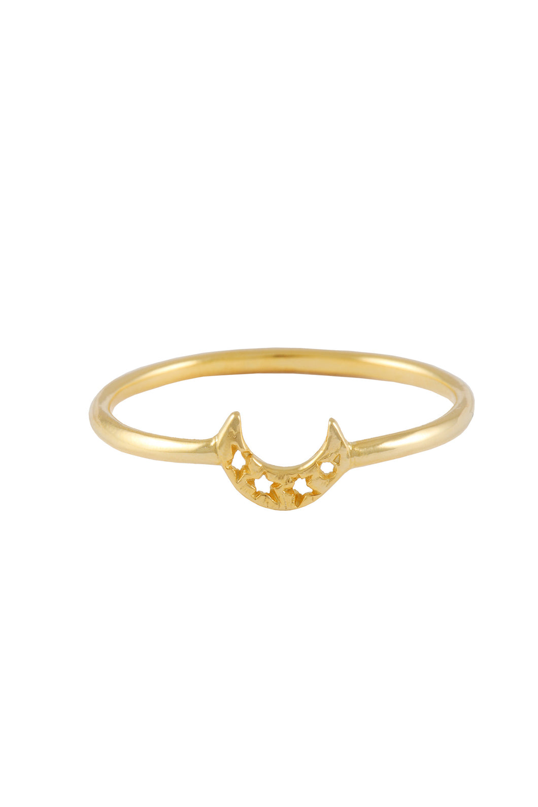Small crescent moon thin ring. Silver, gold plated.
