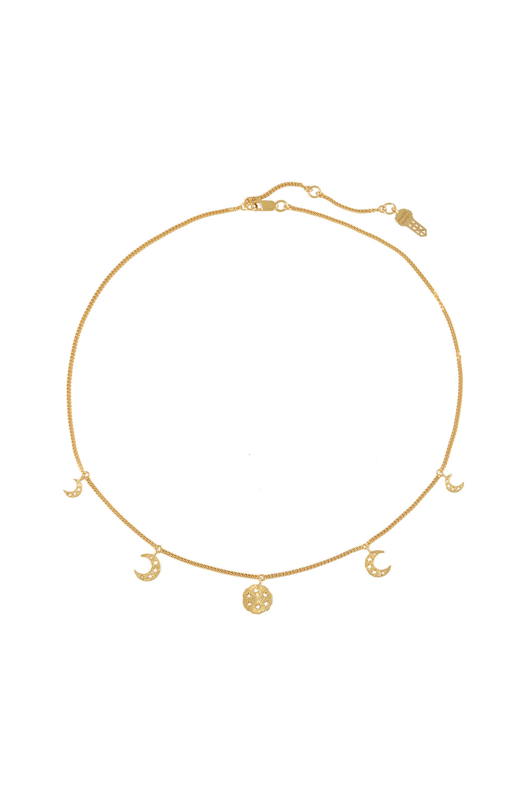 Moon cycle choker, 41 cm. Silver, gold plated.