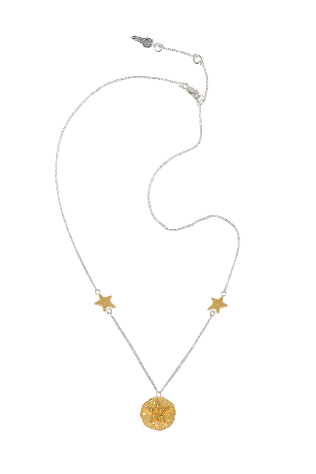 Chain necklace with small pentagram medallion and 2 stars on the chain, 46 cm, partly silver, gold plated.
