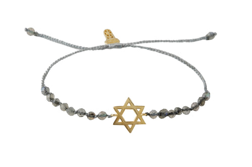Beaded semiprecious stone bracelet with David stars talisman. Silver, gold plated.