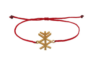 "String bracelet with bind rune ""Material prosperity amulet"". Gold plated."