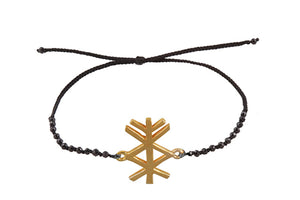"Beaded semprecious stone bracelet with bind rune ""Material prosperity amulet"". Gold plated."