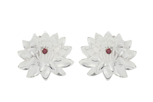 "Earrings ""Lotus with ruby"". Silver."