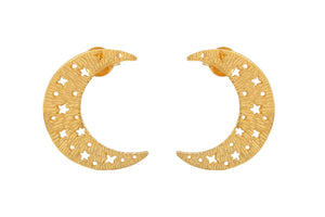 "Earrings ""Medium Moons"". Gold plated"