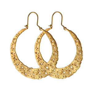 Large moon disc hoops. Gold plated.