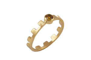 Ring with elements - Earth. Gold plated, yellow citrin.