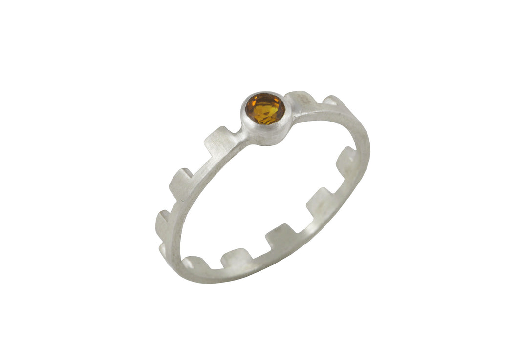 Ring with elements - Earth. Silver, yellow citrine.