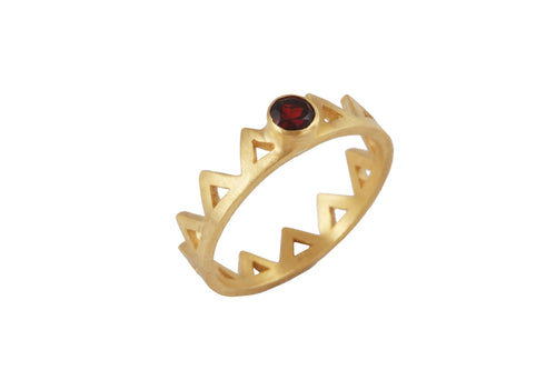 Ring with elements - Fire. Silver, red garnet.